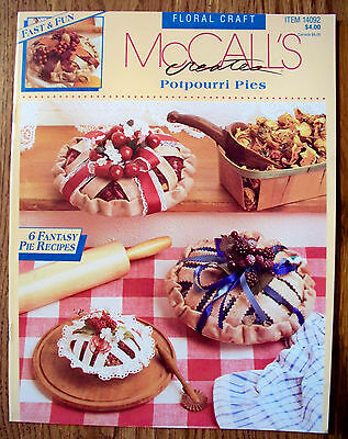 Vin 1992 Mccalls Floral Craft Potpourri Pie Pattern - 6 Styles - Make As Gifts!
