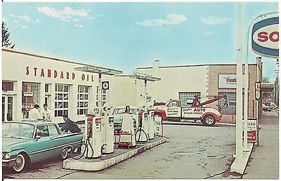 Anthony's Sohio Service Station in Parma OH Postcard Gas Pumps