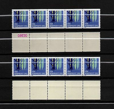 Usa, Scott # 3207, Two Strips Of 5 Pnc5 #s1111 With & Without Numbers On Back