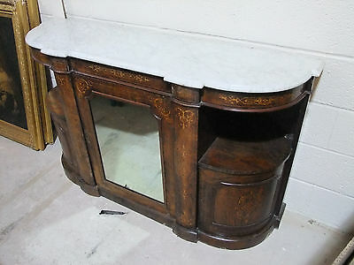 Super Victorian Marble Topped Break-Front Inlaid Burr Walnut Credenza   [2100]