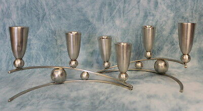 Pair P. Lopez G. Modernist Sterling Silver .925 Candlestick Mexico Mid-Century