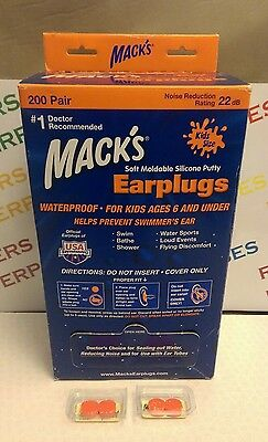 2 Pairs x Mack's Kids Waterproof Earplugs Prevent Swimmers Ear, Noise Reduction
