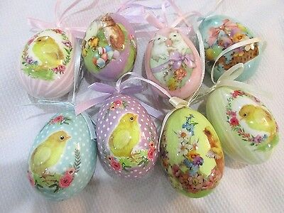 Primitive VTG Style Easter Eggs Egg Ornaments Tree Decorations Qty of 8