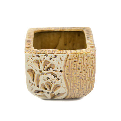 Floral Brown Square Tapered Planter