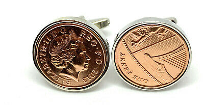 7th Copper wedding anniversary cufflinks - Copper 1p coins from 2010 - Gift idea