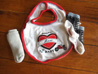 Boy Girl Newborn NB 0 3 M VITAMINS BIKER BABY BIB AND SOCKS LOT EUC
