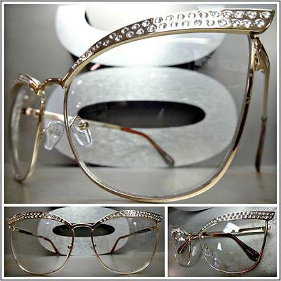 CLASSIC VINTAGE RETRO CAT EYE Style Clear Lens EYE GLASSES Rose Gold Metal Frame