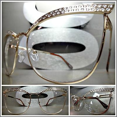 New CLASSIC VINTAGE RETRO CAT EYE Style Clear Lens EYE GLASSES Gold Metal Frame