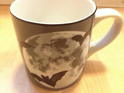 Ceramic MUG Cup  goth Halloween WILLIAM SONOMA BATS FULL MOON GRAY New