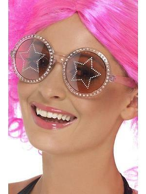 Pink 70's Style Big Round Star Glasses with Rhinestones