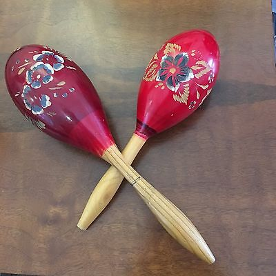 2 Vintage Wooden Maracas Percussion Instrument   From 1960 Mexico