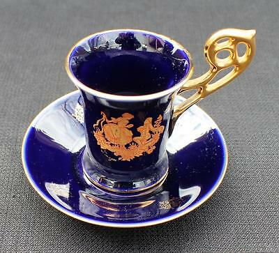 Vntg CASTLE LIMOGES France Cobalt Blue VICTORIAN PROPOSAL Demitasse Cup & Saucer