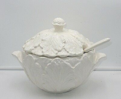 "Banquet Size Vintage 1978 Whittier Pottery Ca Usa 14"" Cabbage Leaf Soup Tureen"