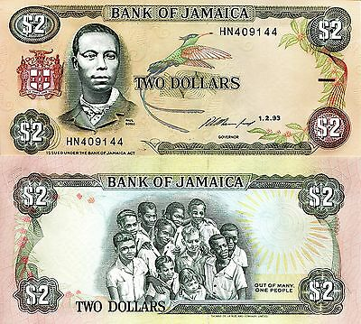 JAMAICA 2 Dollars Banknote World Paper Money aUNC Currency Pick p-69e Bird