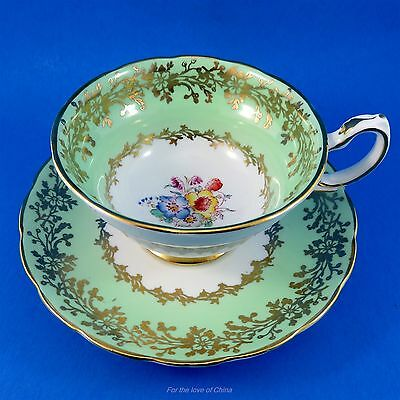 Pretty Mint Green and Painted Floral Bouquet Grosvenor Tea Cup and Saucer Set