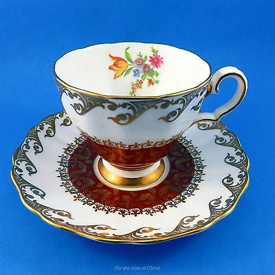 Striking Deep Red and Floral Grosvenor Tea Cup and Saucer Set