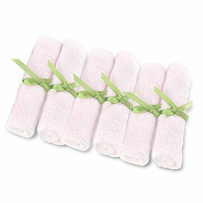 Brooklyn Bamboo Baby Washcloth, PINK, 10-Inch by 10-Inch, 6-Pack ORGANIC Towels