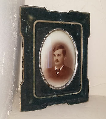 Antique Ambrotype? Photo of Man on Convex Glass in Green Velvet Picture Frame