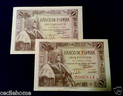 SPAIN BANKNOTE 1 PESETA 1945 aUNC The Catholic NO PREFIX,ESPAÑA P128*PRICE EACH*