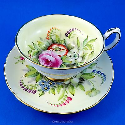 Rare Signed D.Miles Handpainted Floral Grosvenor Tea Cup and Saucer Set