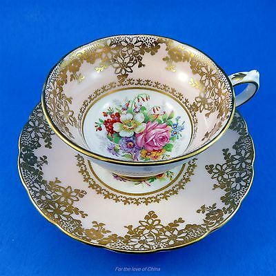Pink and Gold Border with Floral Center Grosvenor Tea Cup and Saucer Set