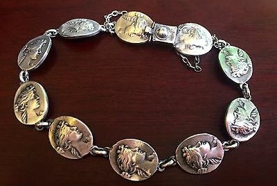 LADY MEDALLIONS ANTIQUE COIN BRACELET JEWELRY Sterling Silver VICTORIAN NOUVEAU
