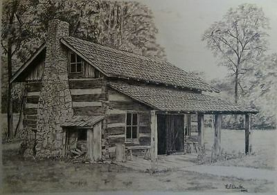 Drawing of Log Cabin, Pencil, Graphite
