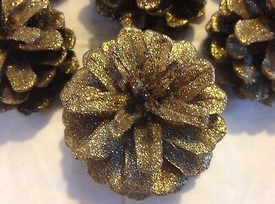 """*12 PINE CONES Gold GLITTER Small/Medium 1 1/2 - 2"""" H ~ 1 1/2 - 2"""" W ~ Crafters"""