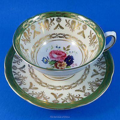 Rich Gold & Green Border with Floral Center Royal Grafton Tea Cup and Saucer Set