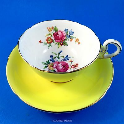 Pretty Yellow and Floral Bouquet Center Royal Grafton Tea Cup and Saucer Set