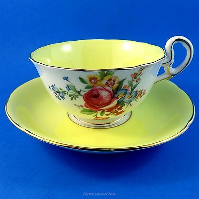 Pretty Yellow and Floral Bouquet Royal Grafton Tea Cup and Saucer Set