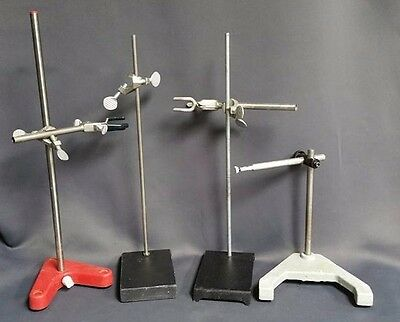 "Laboratory Stands 20"" 19"" 18"" 10"" w/ Clamps Lot of 4"
