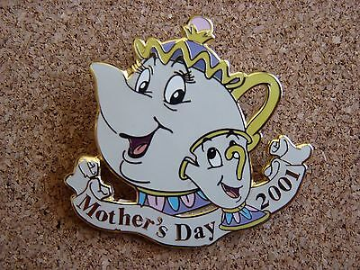 Disney Limited Edition Mother's Day 2001 pin*Beauty & Beast  Mrs. Pott's & Chip