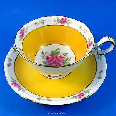 Handpainted Pink Roses with a Yolk Yellow Border Royal Grafton Tea Cup & Saucer