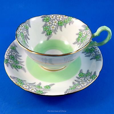 Light Green & White Floral Royal Grafton Tea Cup and Saucer Set