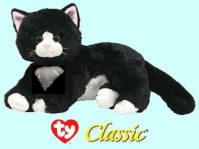 "Ty® 10"" Shadow Classic® Large Black & White Cat #10037 - CUTE & CUDDLY"