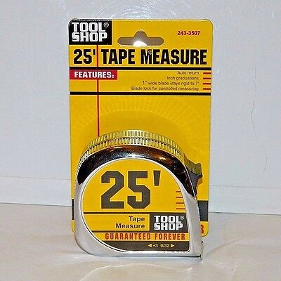 Tool Shop 25' Foot Tape Measure Brand New