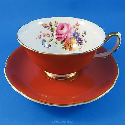 Pretty Deep Orange & Floral Royal Grafton Tea Cup and Saucer Set