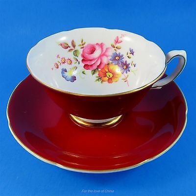 Pretty Deep Red & Floral Royal Grafton Tea Cup and Saucer Set