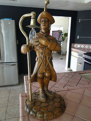 Very Cool Vintage Wood Carved and Brass Table Lamp Dutch Street Lantern Boy!