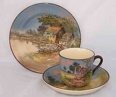 1920s Vintage Royal Doulton ENGLISH COTTAGES Evening D4390 Trio - Round