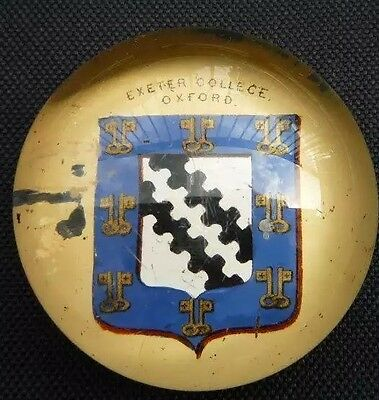 Exeter College Oxford Glass Paper Weight Crest Arms University