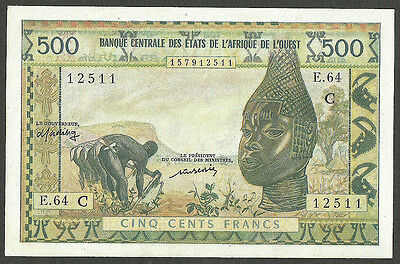 WEST AFRICAN STATES-BURKINA FASO 500 FRANCS ND(1965) CODE C PICK#302Cm XF++