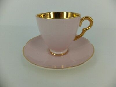 Crown Devon Blush Pink Cup And Saucer With Gilt Trim