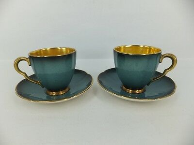 Carlton ware pair of blue royale demitasse cup & saucers A/F