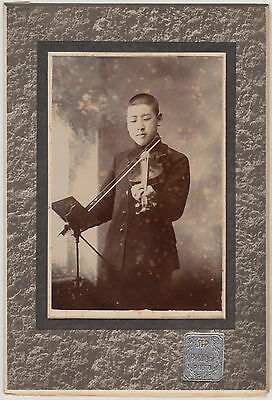 Antique Photo / Young Man Playing Violin / Japanese / c. 1910
