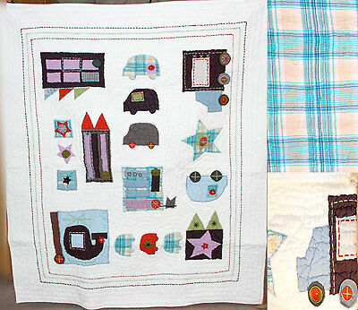 Mamas & Papas Made With Love Coverlet Boys Patchwork City Bnwt