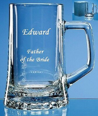 Engraved & Personalised Large Stern Beer/Lager Tankard/Glass-Father of the Bride