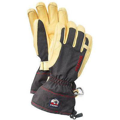 New Unisex Hestra Heli Ski De Cuir Gloves Size 8 Color Charcoal/Red