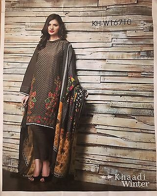 Khaadi Ladies Salwar Kameez 100% Linen with wool shawl Unstiched 5pieces F166T0